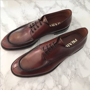 Men's PRADA Split Toe Brown Leather Bluchers